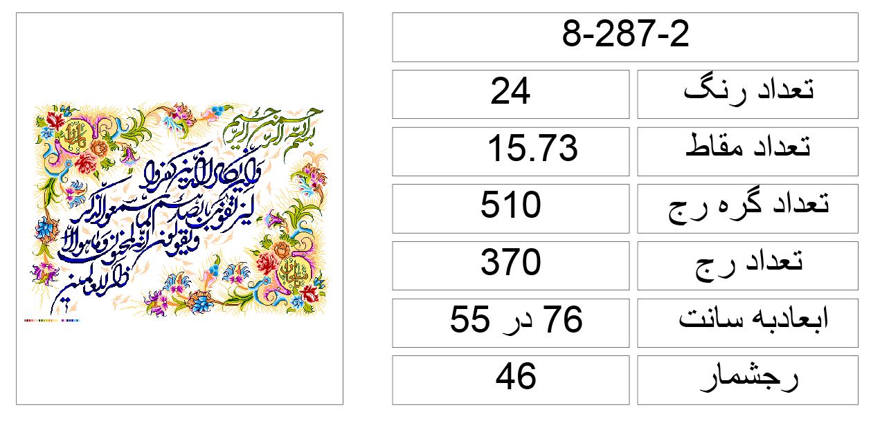 نقشه گلیم سنتی نقشه کدی تابلو فرش ان یکاد 2-287-8   قالی وبسته خدمات فرش ...